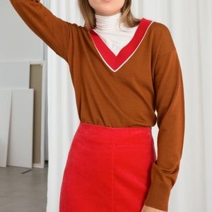 & Other Stories wool varsity sweater red brown S